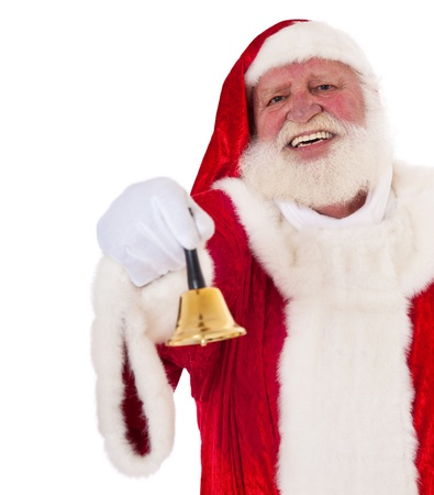 kris kringle: Santa Claus in authentic look jingling the bell  All on white background