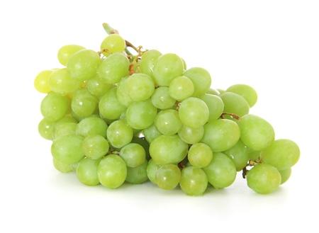 Fine green grapes  All on white background   Standard-Bild