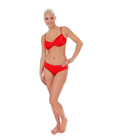 beach wear: Attractive young woman in red bikini  All on white background   Stock Photo