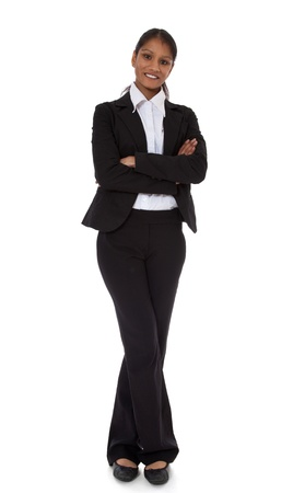 pantsuit: Full length shot of an attractive indian businesswoman  All on white background
