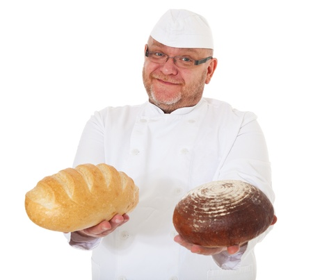 baker's: Charismatic baker holding bread  All on white background   Stock Photo