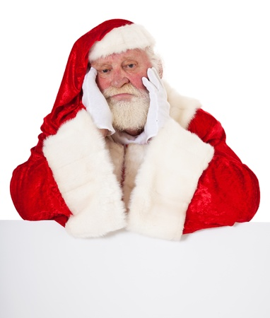 Bored Santa Claus in authentic look  All on white background   Standard-Bild