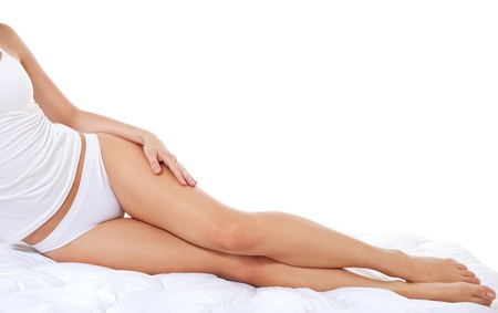woman underwear: Legs of an attractive young woman in white underwear  All on white background