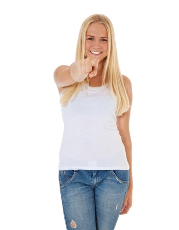 scandinavian descent: Attractive teenage girl points with finger  All on white background