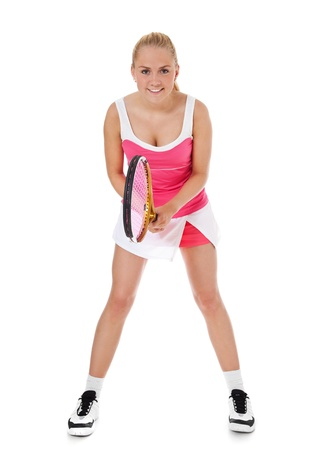 sports wear: Attractive teenage tennis player All on white background