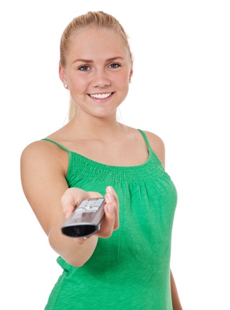 scandinavian descent: Attractive teenage girl hands over telephone  All on white background   Stock Photo
