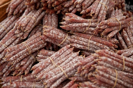 market stall: Fine air-dried sausages at market stall   Stock Photo