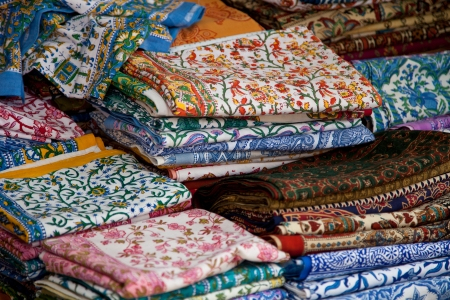 provencal: Traditional provencal market stall offering colorful textiles