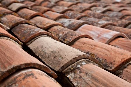 Traditional provencal roofing tiles  Background texture  photo