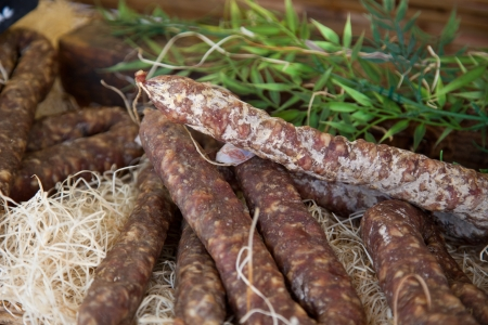 air dried salami: Traditional sausage at market stall