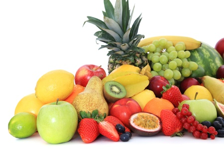 multivitamin: Pile of various ripe fruits  All on white background