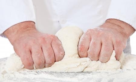 baker's: Baker checking dough  All on white background