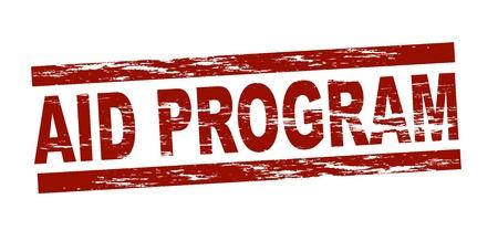 programm: Stilizzato timbro rosso riportante il termine programma di aiuti Archivio Fotografico