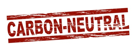 co2 neutral: Stylized red stamp showing the term carbon-neutral