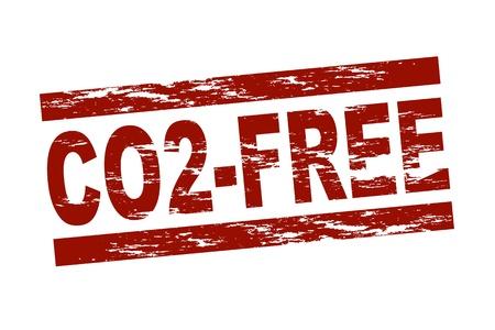 dioxido de carbono: Sello rojo estilizado que muestra el término libre de CO2