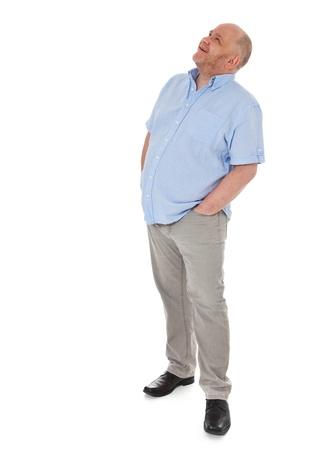 Charismatic grownup man looking up 免版税图像