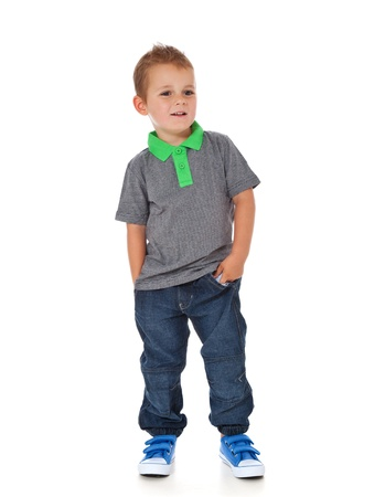 Full length shot of a cute little boy  All isolated on white background  Stockfoto