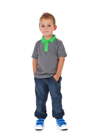 enquiring: Full length shot of a cute little boy  All isolated on white background  Stock Photo