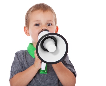 enquiring: Cute little boy using a megaphone  All isolated on white background  Stock Photo