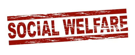 welfare: Stylized red stamp showing the term social welfare Stock Photo