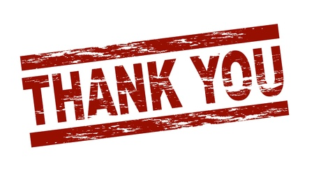 Stylized red stamp showing the term thank you
