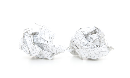 idea generation: Crumbled-up paper. All on white background