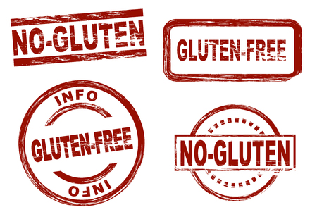 Set of stylized red stamps showing the term gluten-free. All on white background.