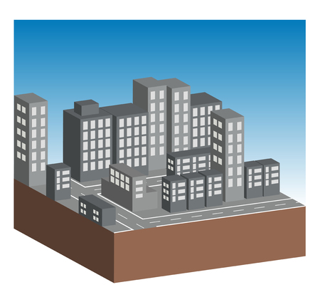 neighbourhood: Buildings and streets in city. All on white background.