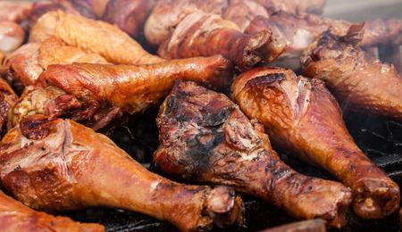fine legs: Fine grilled turkey legs on grill Stock Photo