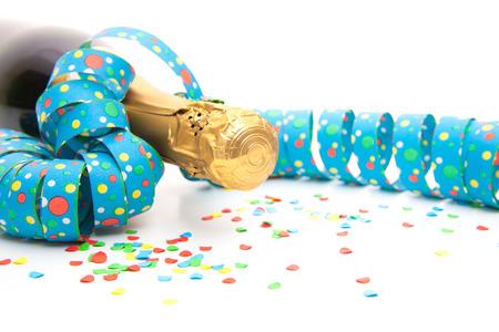 Partij decoratie rond champagnefles Stockfoto
