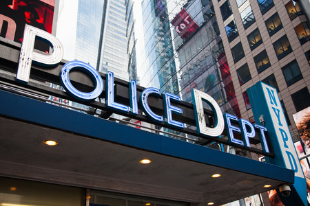 times square new york: Police station at Times Square New York City