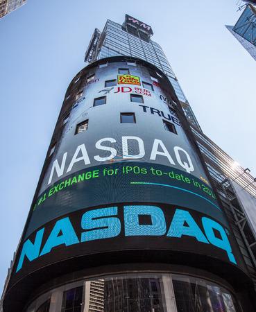 new york stock exchange: Nasdaq billboard at Times Square New York City