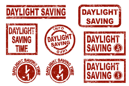 stamp collection: Set of stylized ink stamps showing the term daylight saving