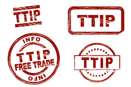 Set of stylized red stamps showing the term TTIP