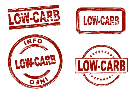 symbolical: Set of stylized red stamps showing the term low-carb. All on white background.