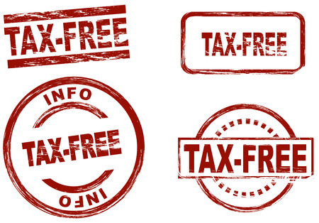 symbolical: Set of stylized red stamps showing the term tax-free. All on white background