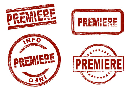premiere: Set of stylized stamps showing the term premiere. All on white background.
