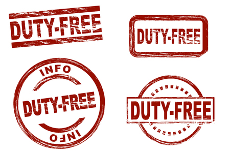 Set of stylized red stamps showing the term duty-free. All on white background. Imagens