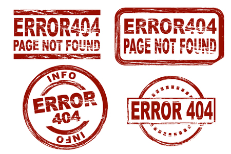 page not found: Set of stylized red stamps showing the term error 404 Stock Photo