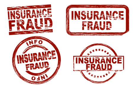 swindle: Set of stylized red ink stamps showing the term insurance fraud. All on white background. Stock Photo