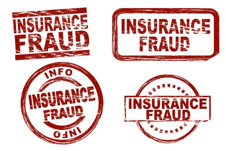 Set van gestileerde rode inkt stempels met de term verzekeringsfraude. Alle op een witte achtergrond.