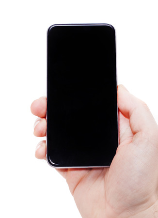 hand phone: Hand holding smart phone. All on white background.
