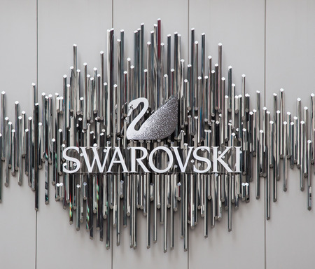 swarovski: Swarovski brand on storefront in New York City Editorial