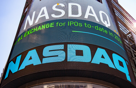 new ipo: NASDAQ billboard at Time Square New York City Editorial