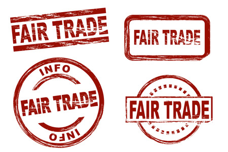 fair trade: Set of stylized red stamps showing the term fair trade. All on white background. Stock Photo