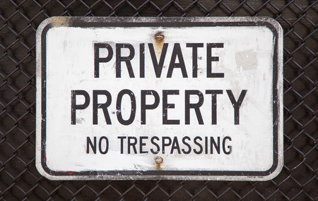 property: Private property no trespassing sign Stock Photo