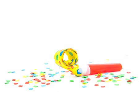 fasching: Party utensils on white background. Stock Photo