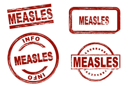 measles: Set of stylized red stamps showing the term measles. All on white background. Stock Photo