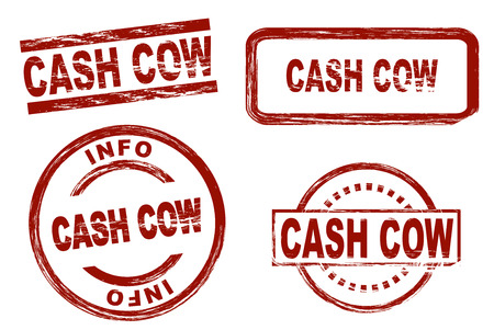 cash cow: Set of stylized stamps showing the term cash cow. All on white background. Stock Photo
