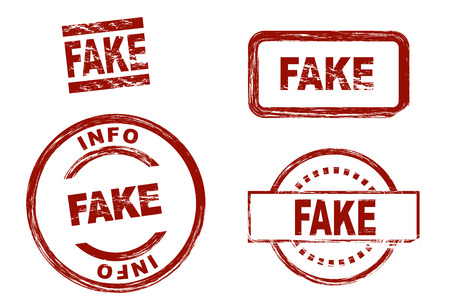 symbolical: Set of stylized red stamps showing the term fake. All on white background. Stock Photo